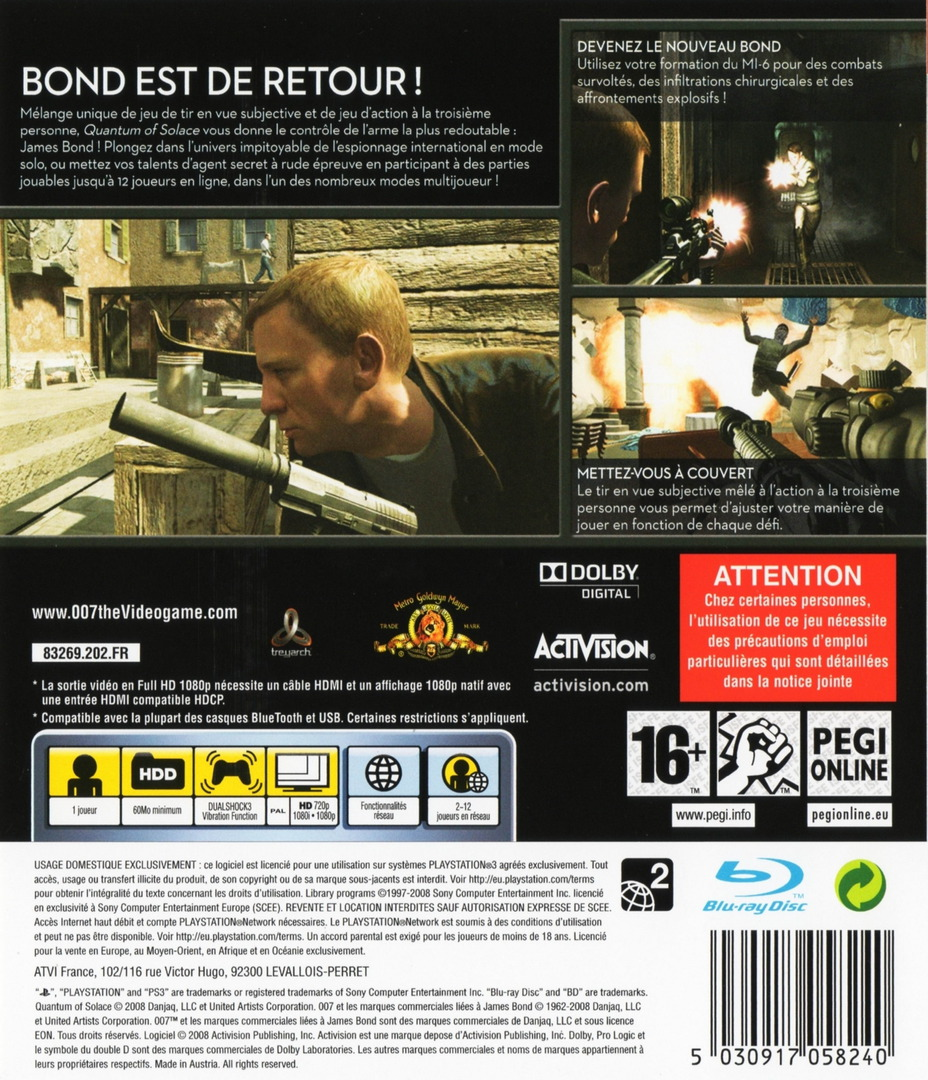 007 : Quantum of Solace PS3 backHQ (BLES00406)
