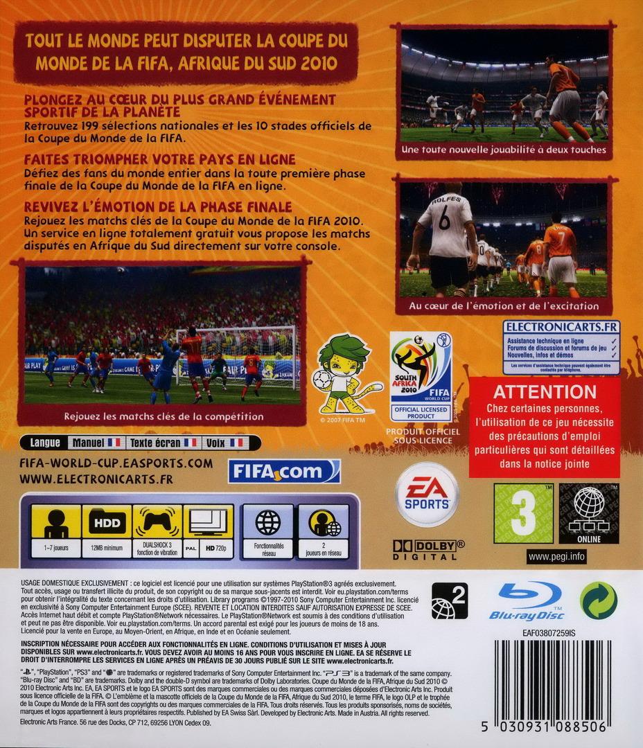 Coupe du Monde de la FIFA:Afrique du Sud 2010 PS3 backHQ (BLES00796)