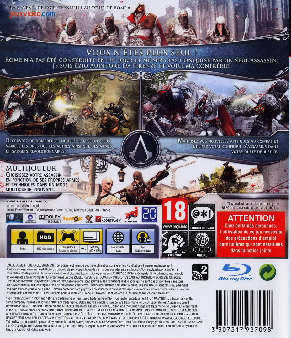 Assassin's Creed: Brotherhood PS3 backHQ (BLES00909)