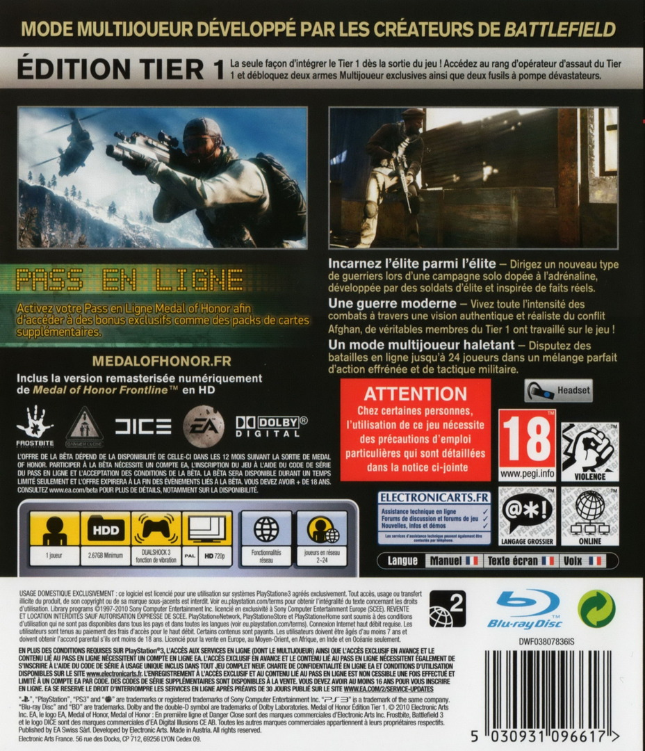 Medal of Honor: Tier 1 Edition PS3 backHQ (BLES01106)