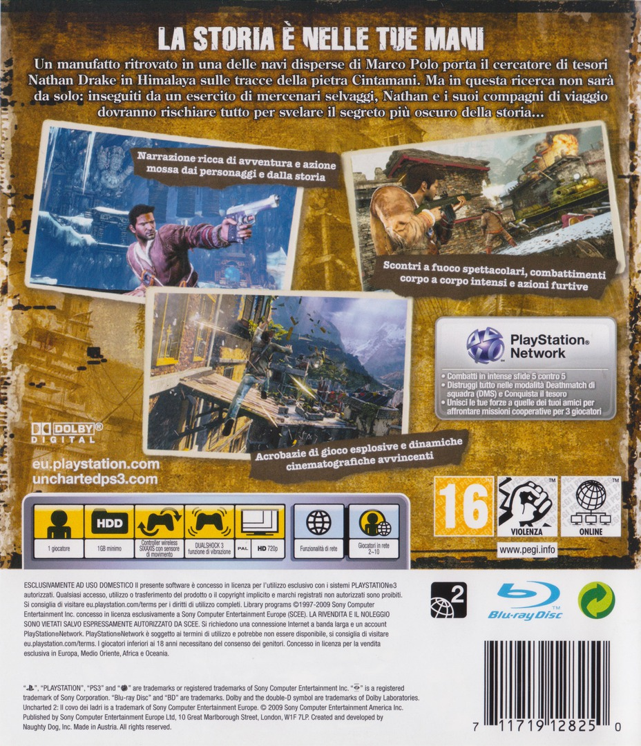 Uncharted 2: Il covo dei ladri PS3 backHQ (BCES00509)