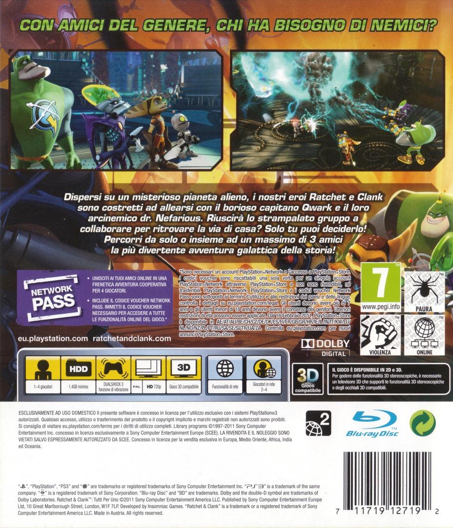 Ratchet & Clank: Tutti per uno PS3 backHQ (BCES01141)