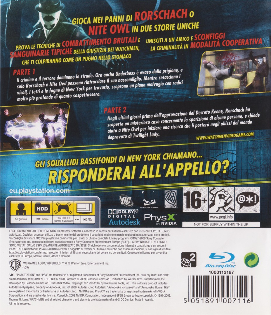 Watchmen: La Fine E' Vicina - Parte 1&2 PS3 backHQ (BLES00605)