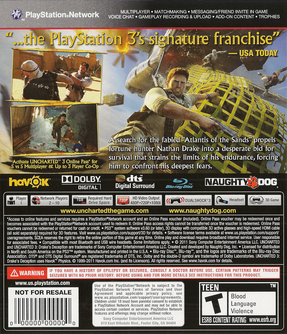Uncharted 3: Drake's Deception PS3 backHQ (BCUS90675)