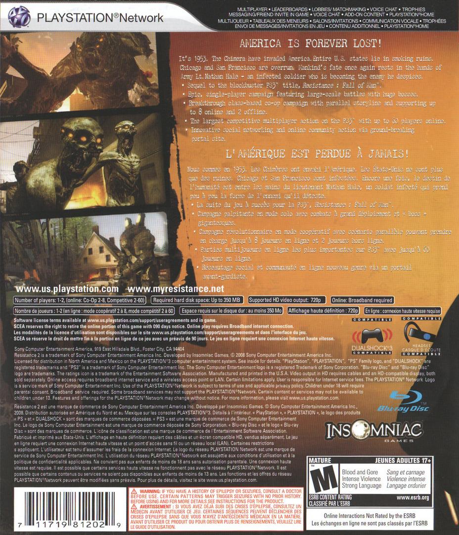 Resistance 2 PS3 backHQ (BCUS98120)