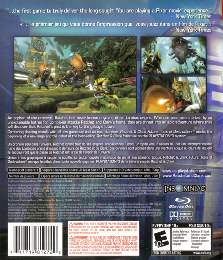 Ratchet & Clank: Future - Tools of Destruction PS3 backHQ (BCUS98127)