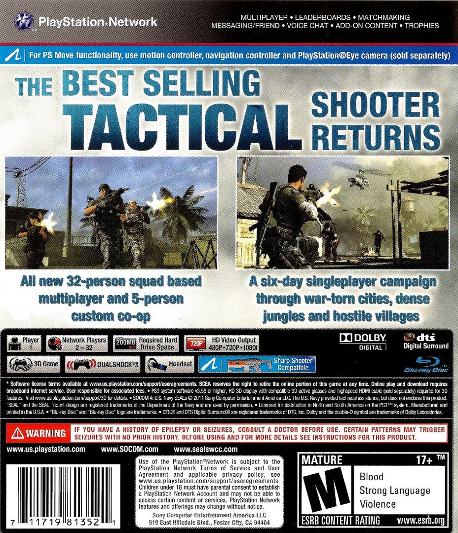 SOCOM 4: U.S. Navy SEALs PS3 backHQ (BCUS98135)