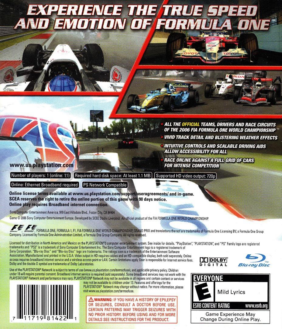 Formula One: Championship Edition PS3 backHQ (BCUS98142)