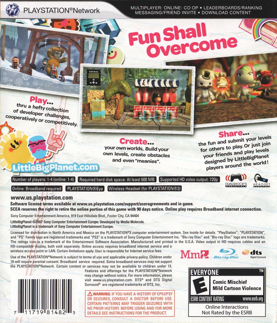 LittleBigPlanet PS3 backHQ (BCUS98148)
