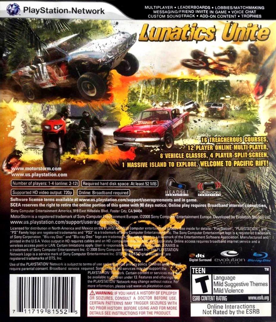 MotorStorm: Pacific Rift PS3 backHQ (BCUS98155)