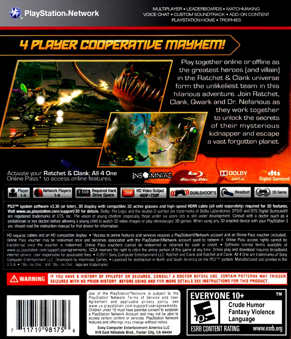 Ratchet & Clank: All 4 One PS3 backHQ (BCUS98175)