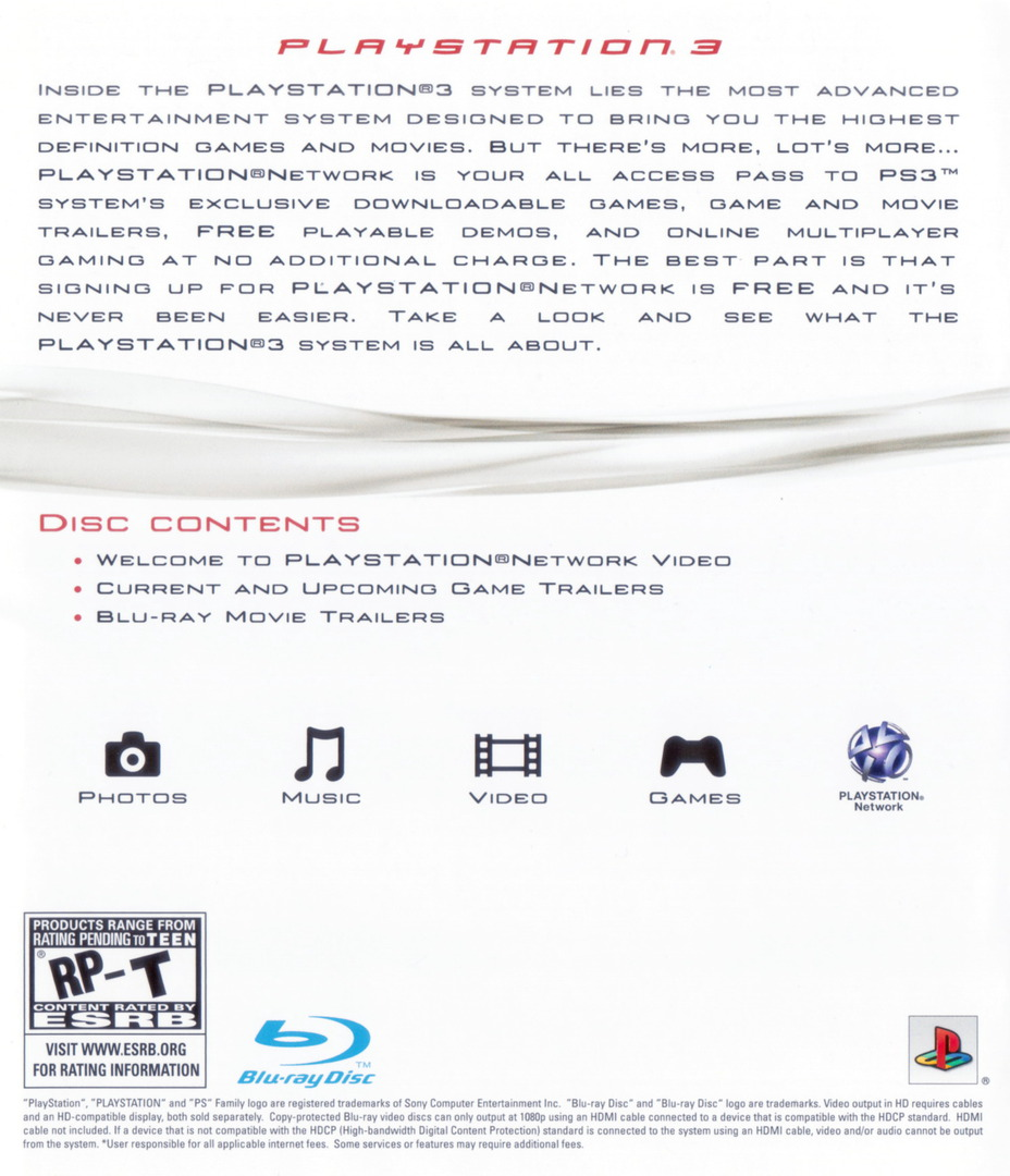 Welcome to PlayStation Network and PlayStation 3 80GB Array backHQ (BCUS98182)