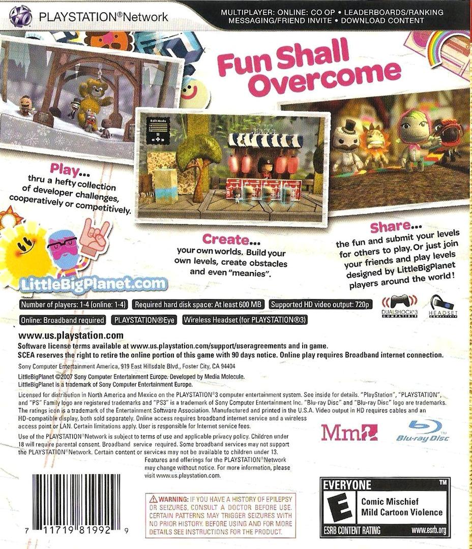 LittleBigPlanet PS3 backHQ (BCUS98199)