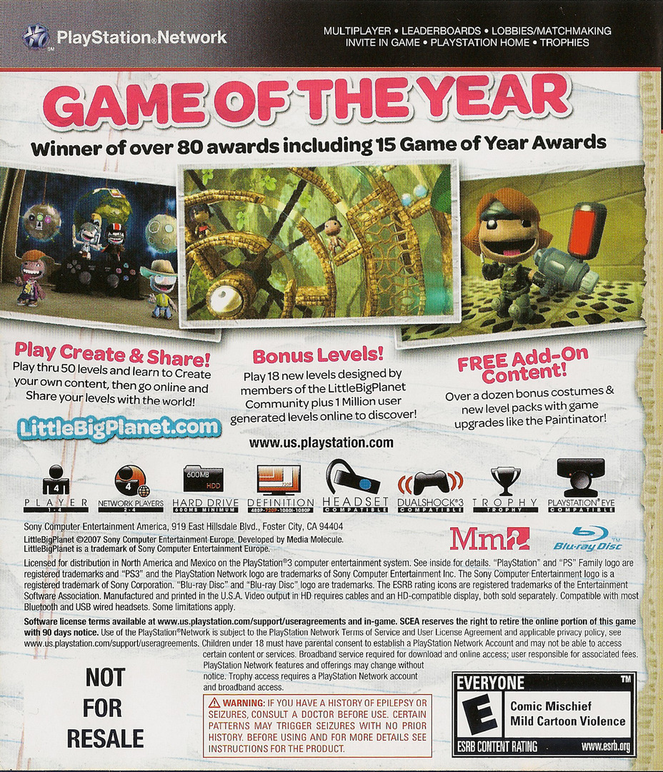 LittleBigPlanet (Game of the Year Edition) Array backHQ (BCUS98208)