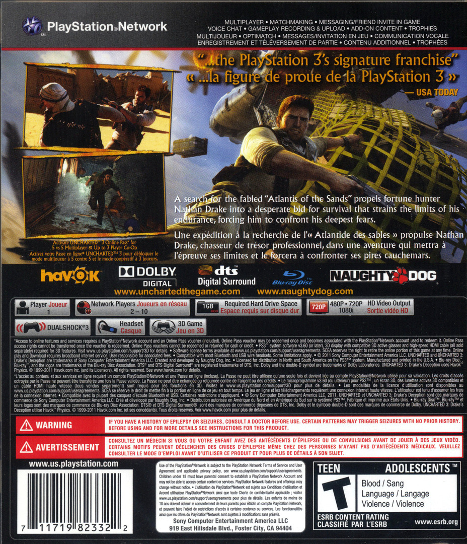 Uncharted 3: Drake's Deception PS3 backHQ (BCUS98233)