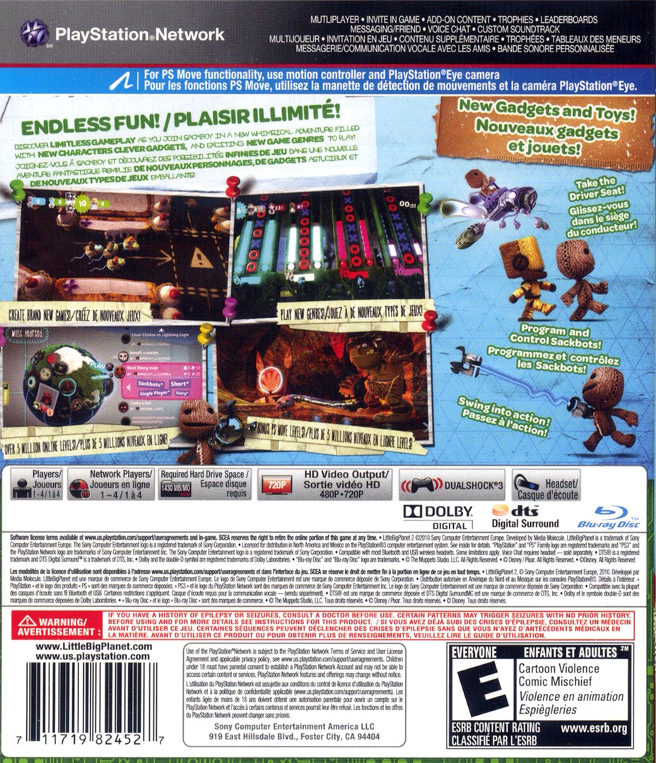 LittleBigPlanet 2 PS3 backHQ (BCUS98245)
