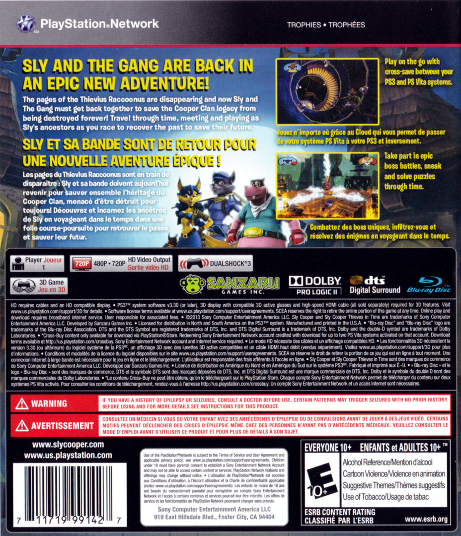 Sly Cooper: Thieves in Time PS3 backHQ (BCUS98247)
