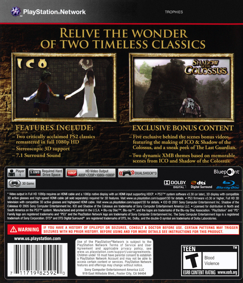 The ICO & Shadow of the Colossus Collection PS3 backHQ (BCUS98259)