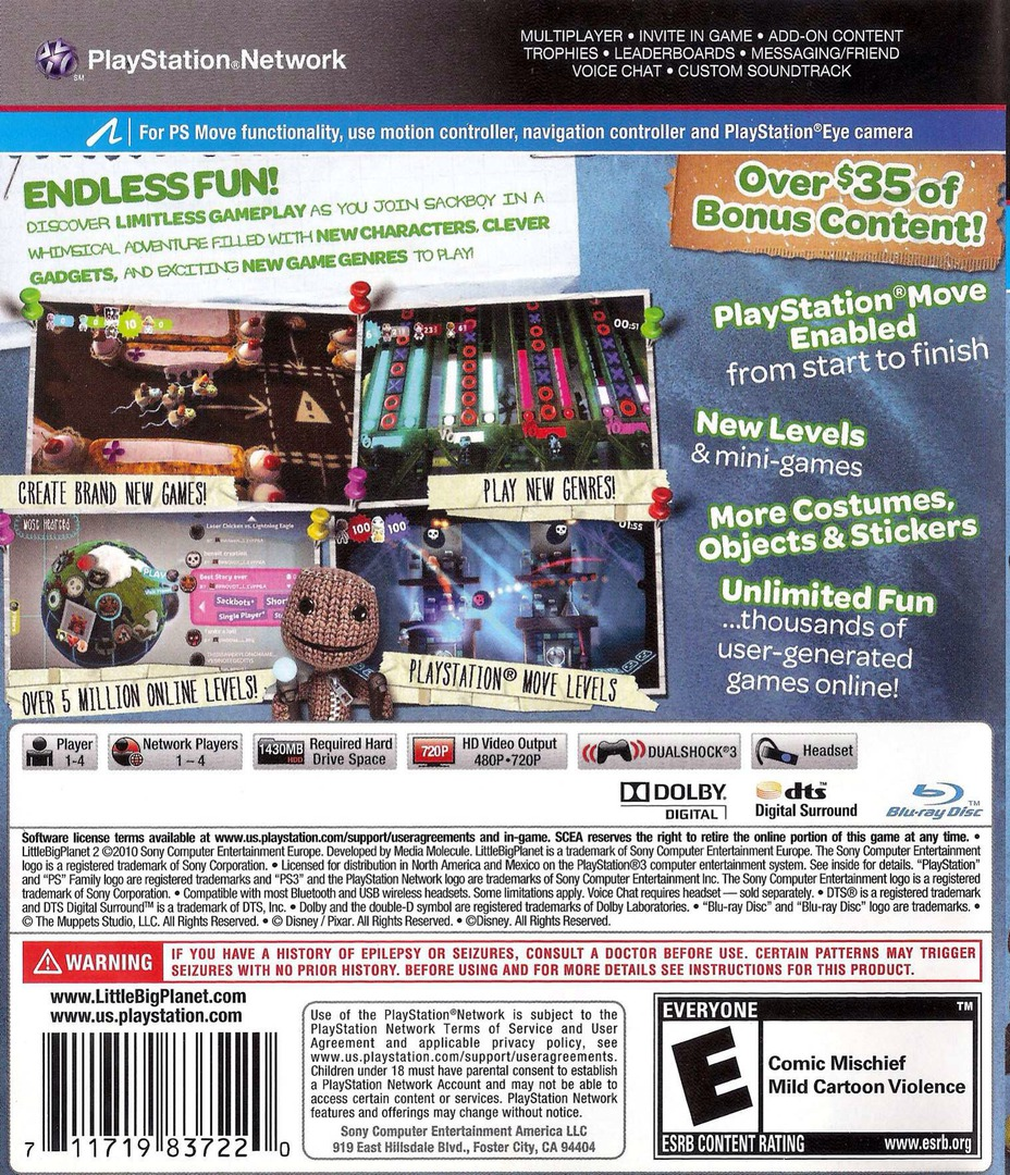 LittleBigPlanet 2 (Special Edition) PS3 backHQ (BCUS98372)