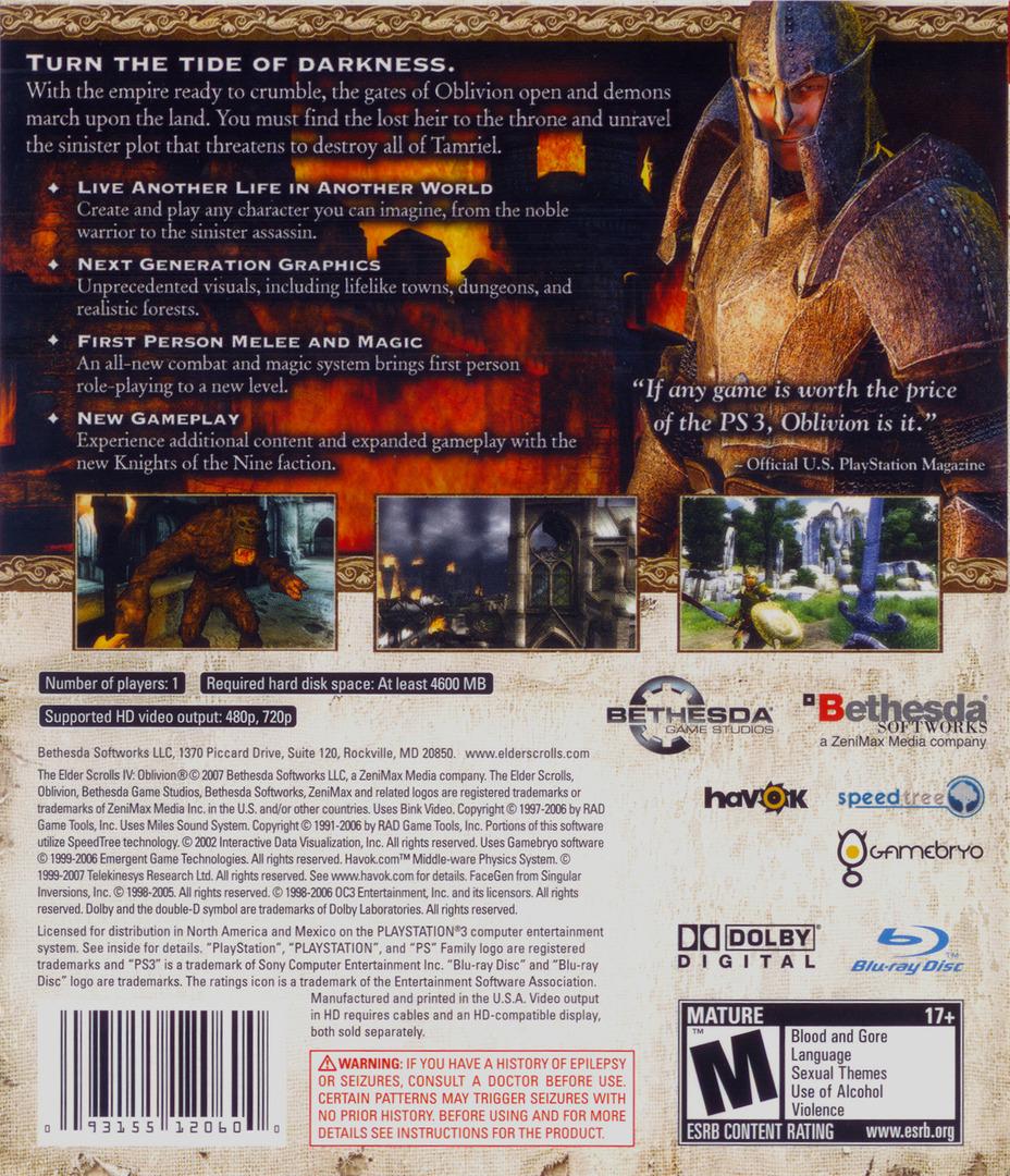 The Elder Scrolls IV: Oblivion PS3 backHQ (BLUS30007)