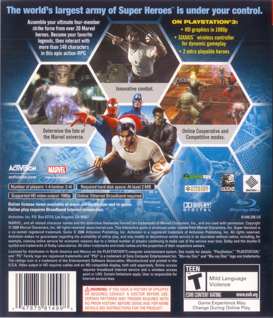 Marvel: Ultimate Alliance PS3 backHQ (BLUS30010)