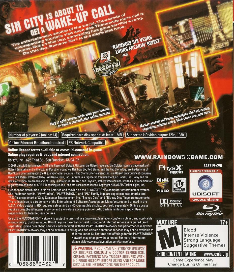Tom Clancy's Rainbow Six: Vegas PS3 backHQ (BLUS30018)