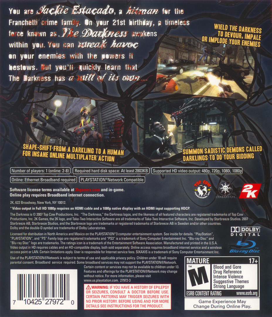 The Darkness PS3 backHQ (BLUS30035)