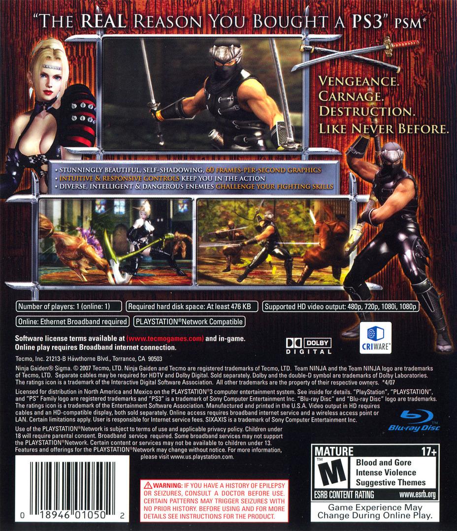 Ninja Gaiden Sigma (Collector's Edition) PS3 backHQ (BLUS30051)