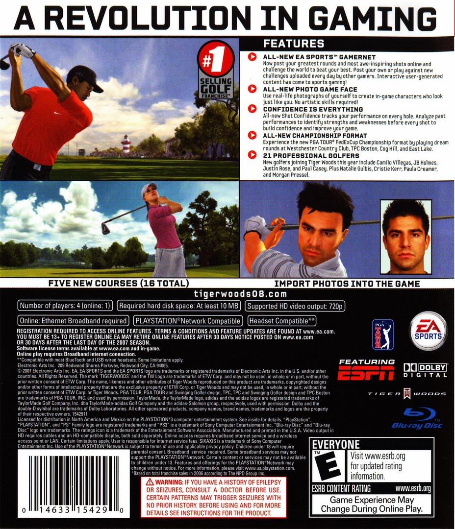 Tiger Woods PGA Tour 08 PS3 backHQ (BLUS30053)