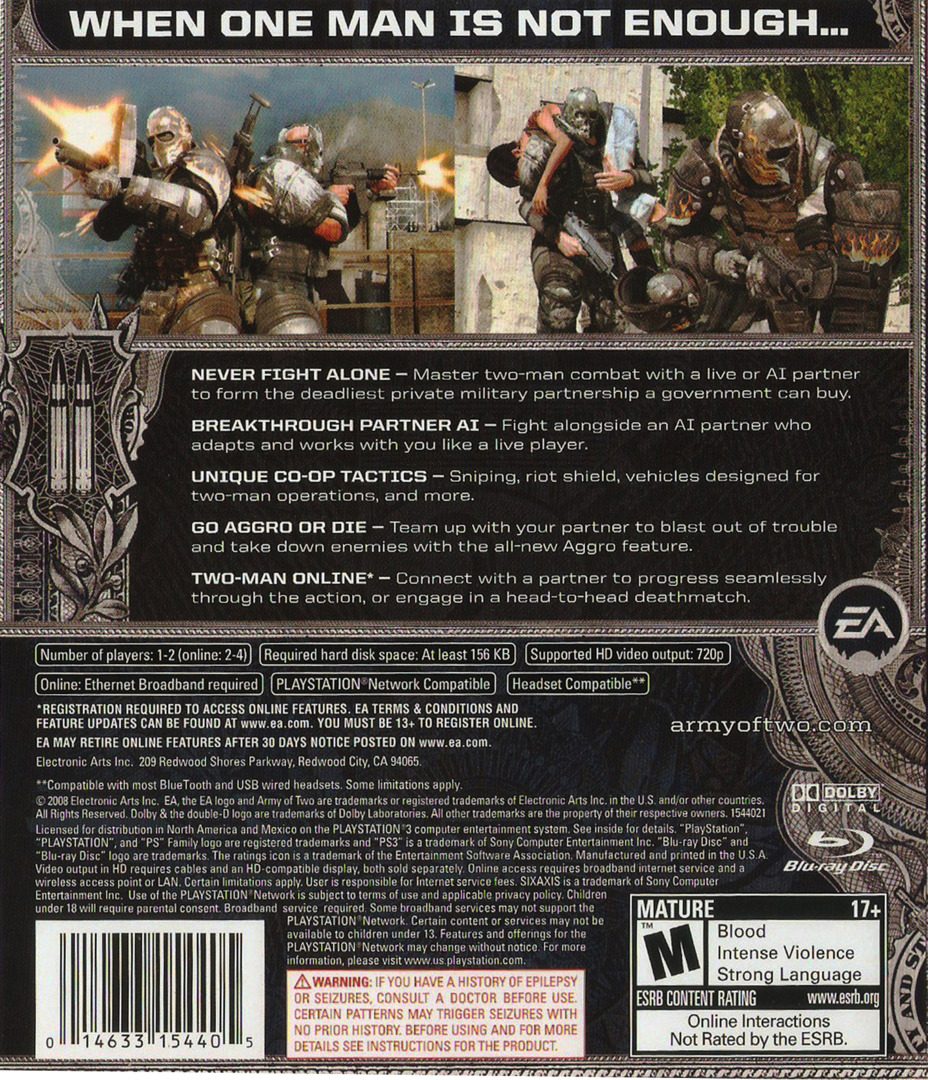 Army of Two PS3 backHQ (BLUS30057)