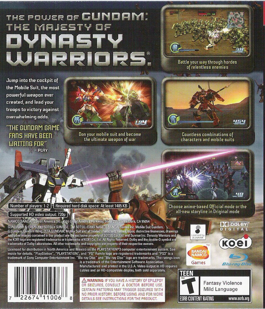 Dynasty Warriors: Gundam PS3 backHQ (BLUS30058)