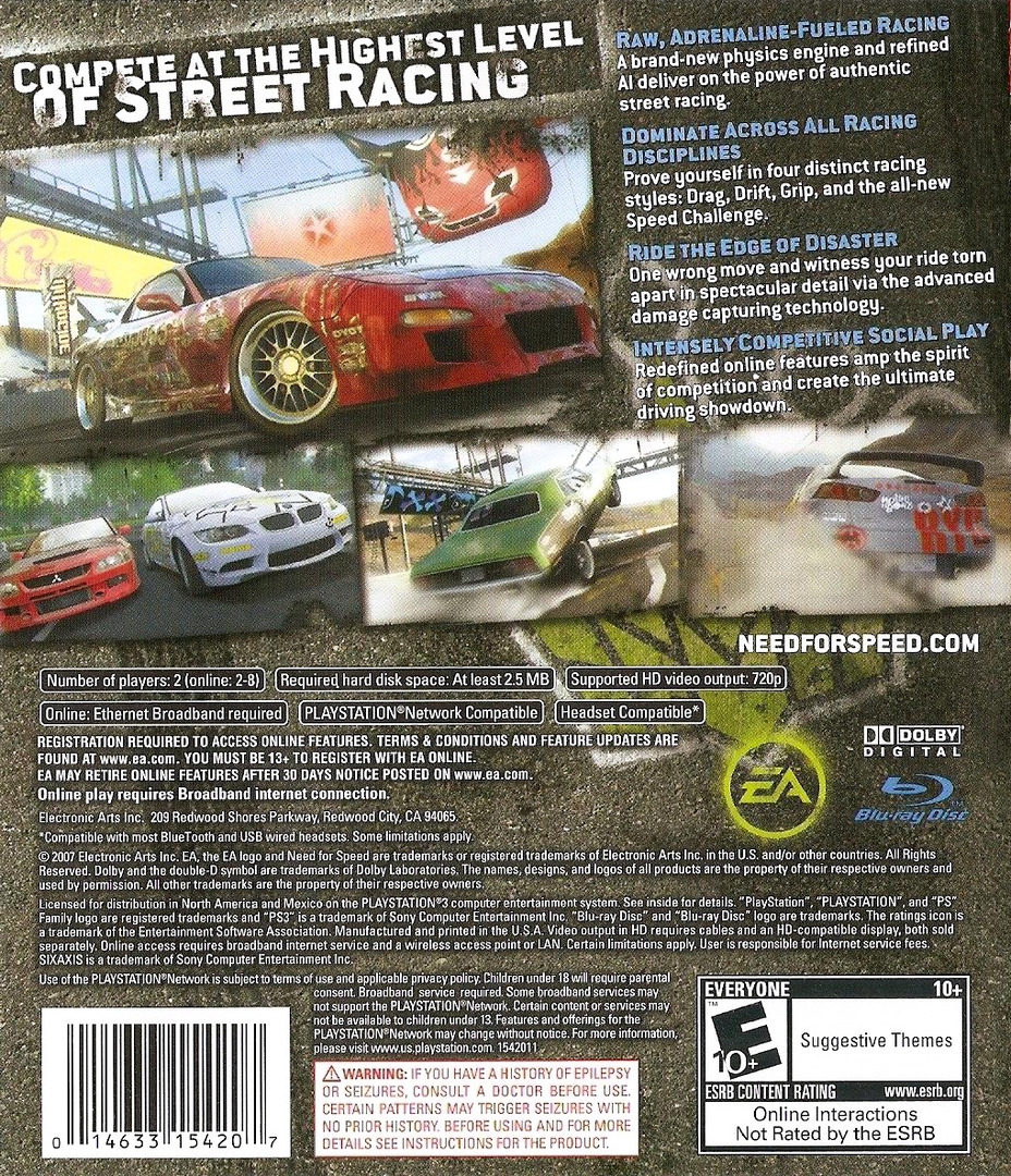 Need for Speed: ProStreet PS3 backHQ (BLUS30066)