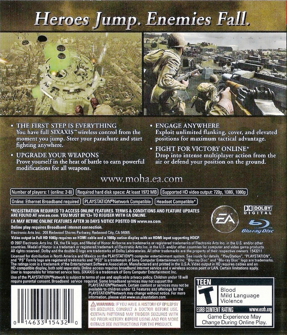 Medal of Honor: Airborne PS3 backHQ (BLUS30067)