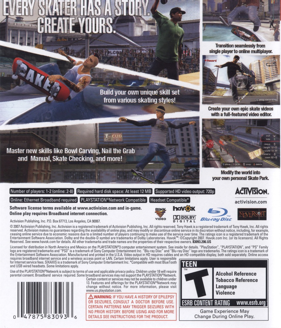 Tony Hawk's Proving Ground PS3 backHQ (BLUS30071)