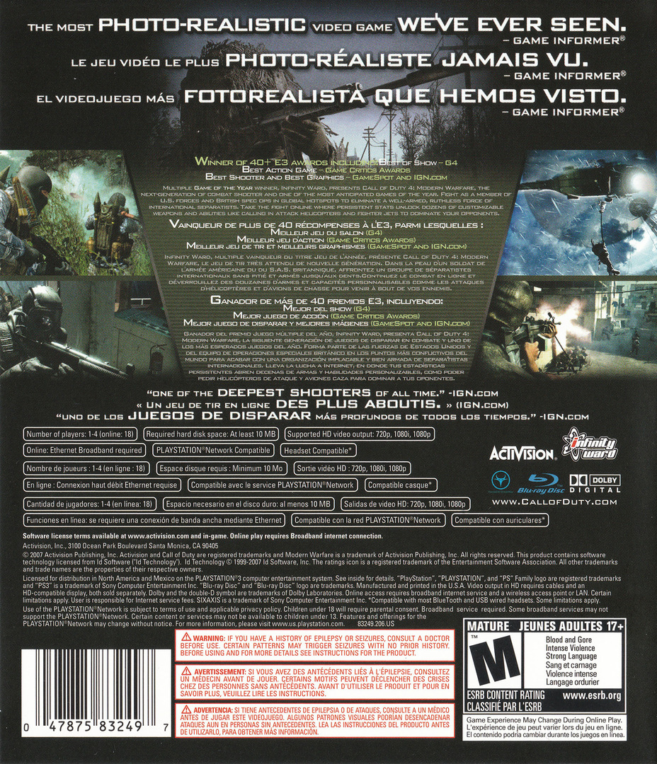 Call of Duty 4: Modern Warfare PS3 backHQ (BLUS30072)
