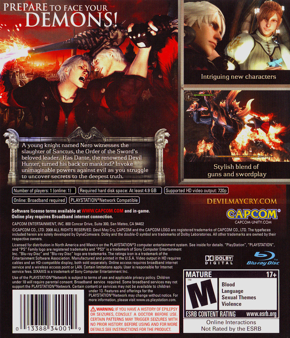 Devil May Cry 4 PS3 backHQ (BLUS30092)