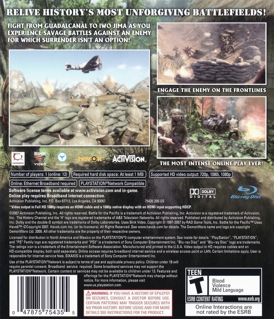 History Channel: Battle for the Pacific PS3 backHQ (BLUS30103)