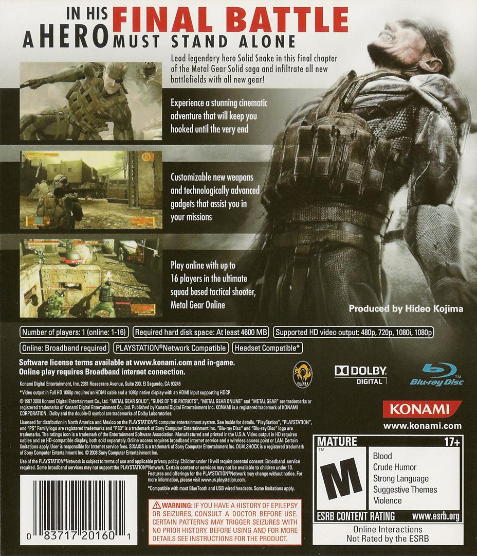 Metal Gear Solid 4: Guns of the Patriots PS3 backHQ (BLUS30109)