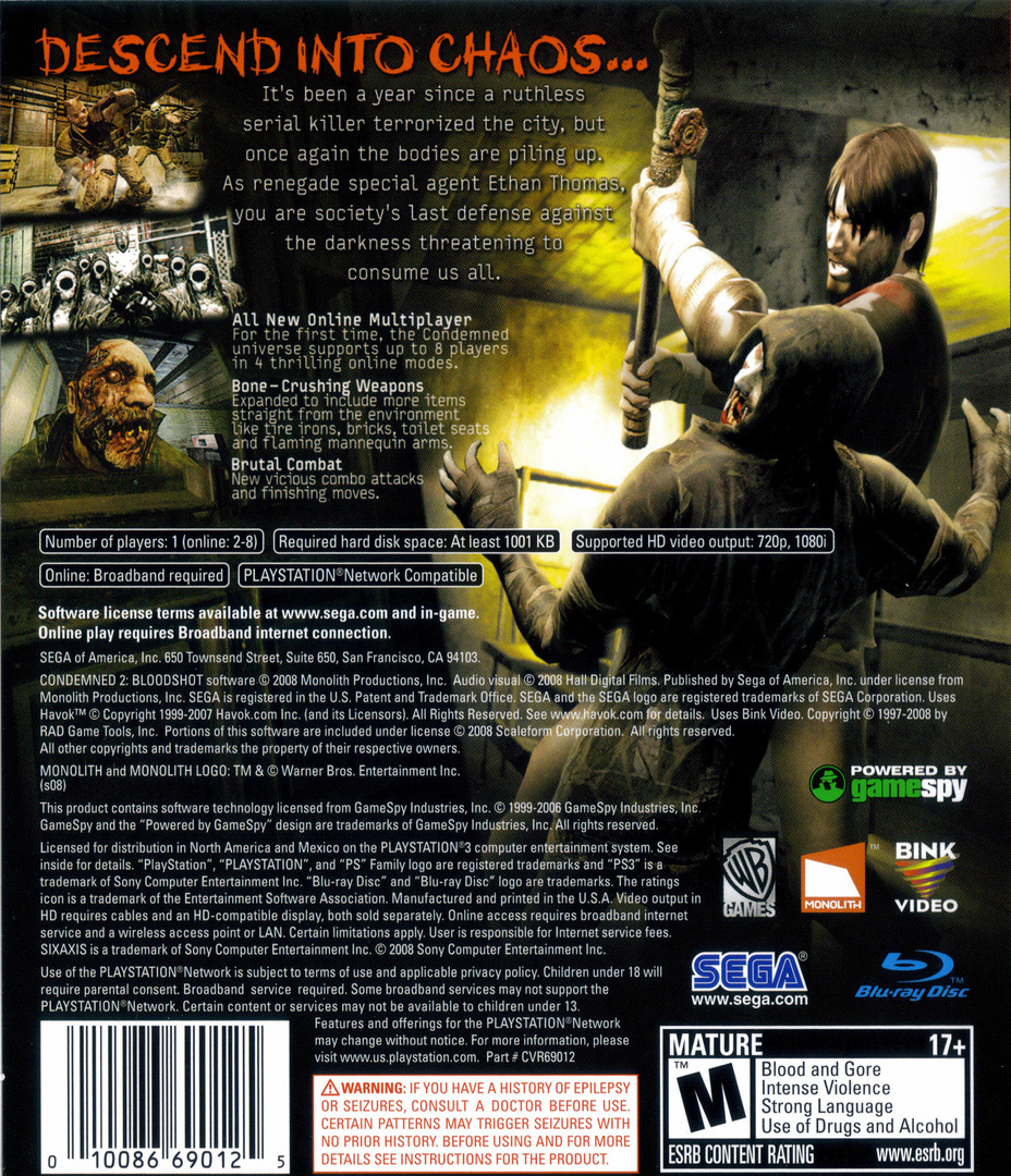 Condemned 2: Bloodshot PS3 backHQ (BLUS30115)