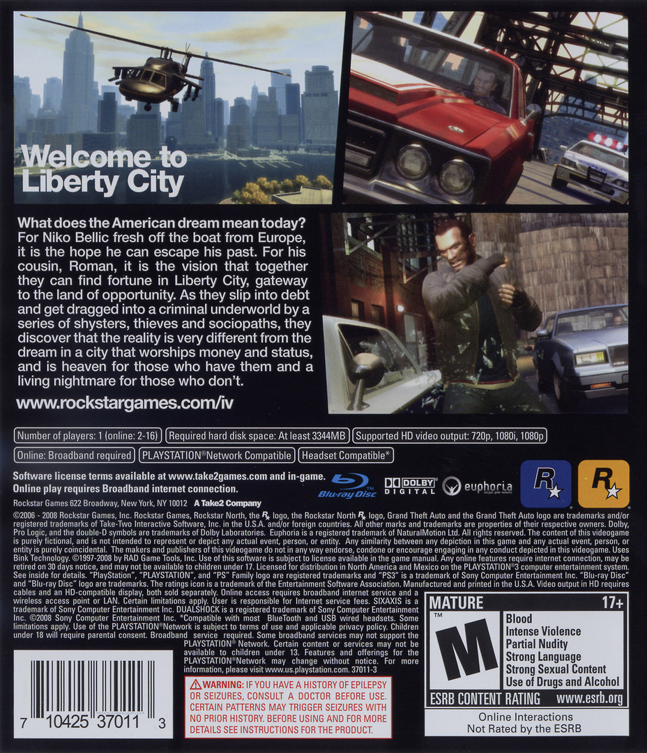 Grand Theft Auto IV PS3 backHQ (BLUS30127)