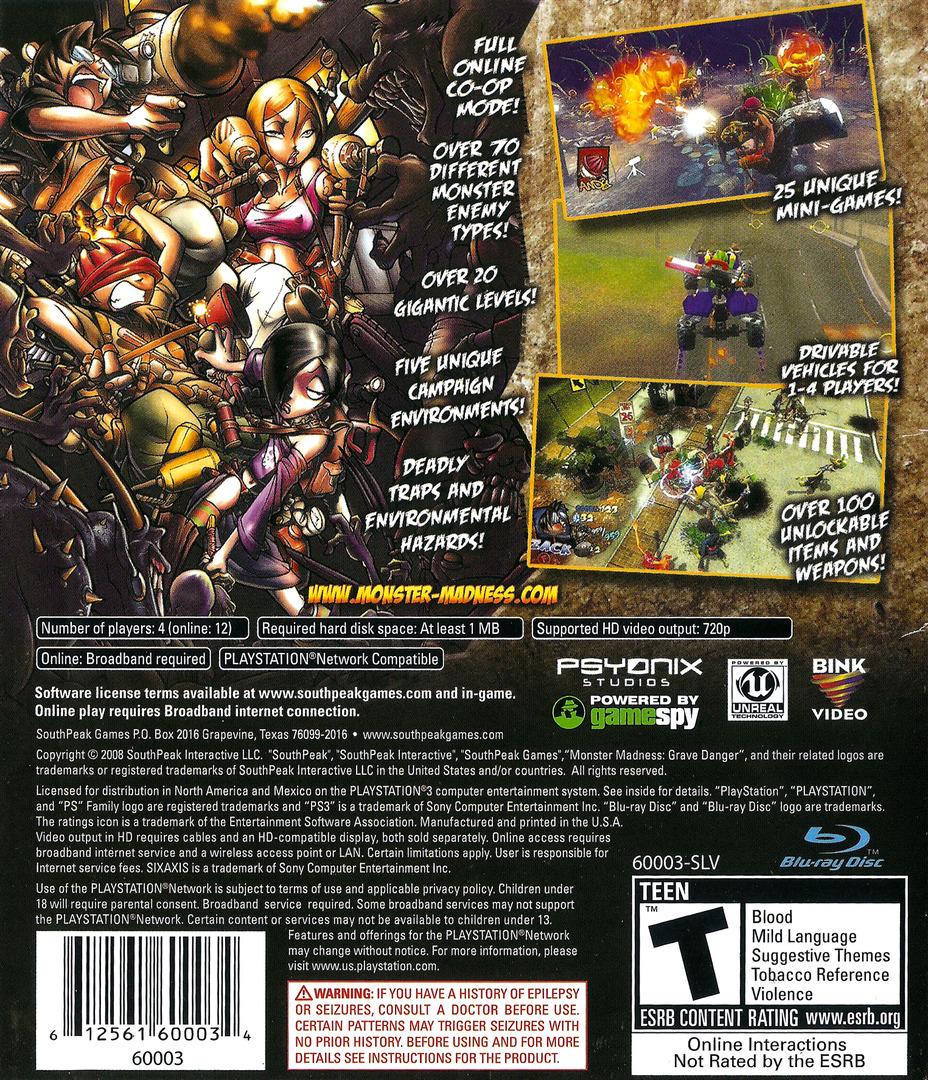 Monster Madness: Grave Danger PS3 backHQ (BLUS30140)