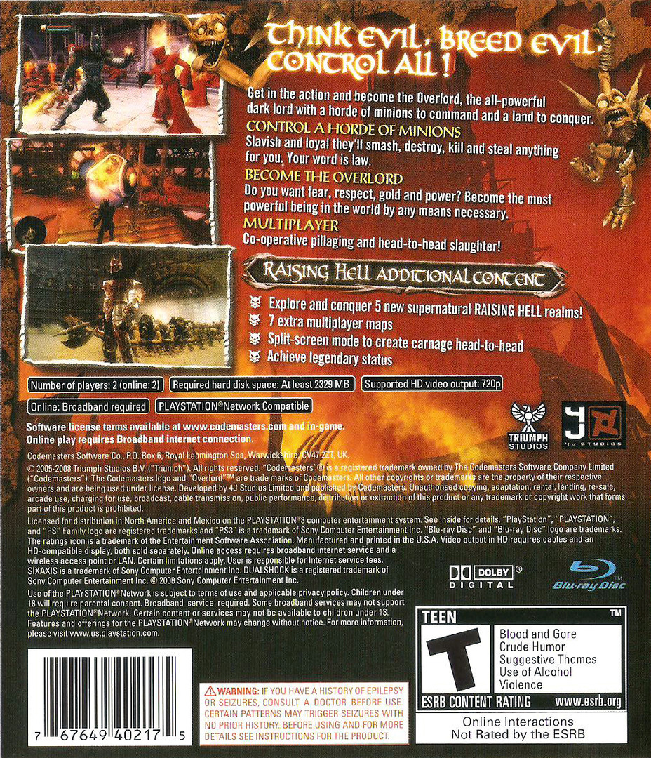 Overlord: Raising Hell PS3 backHQ (BLUS30143)