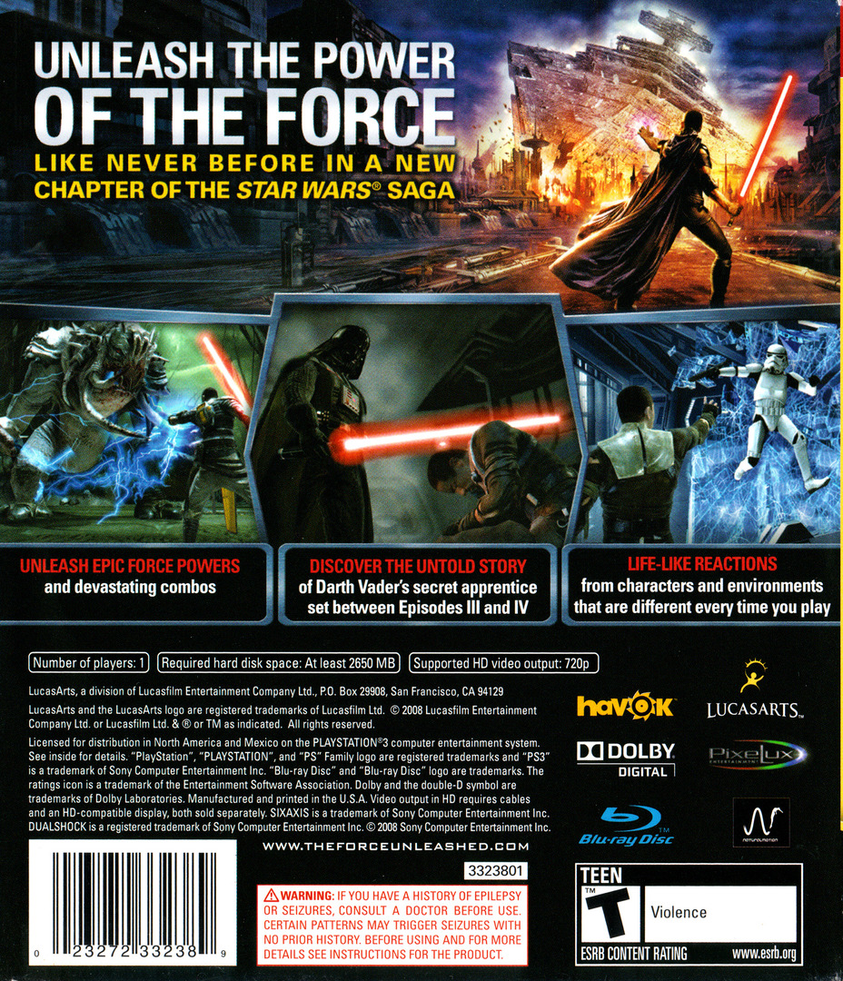 Star Wars: The Force Unleashed PS3 backHQ (BLUS30144)