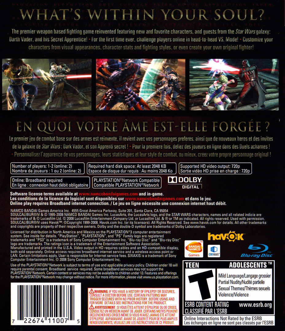 Soul Calibur IV PS3 backHQ (BLUS30160)