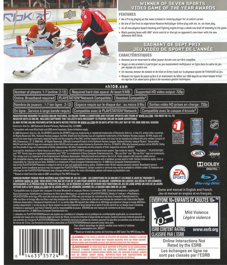 NHL '09 PS3 backHQ (BLUS30168)