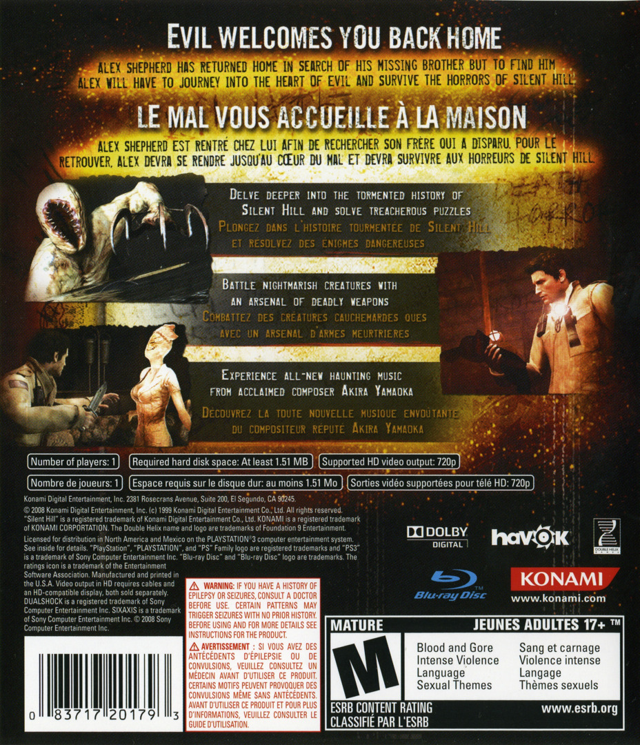 Silent Hill: Homecoming PS3 backHQ (BLUS30169)