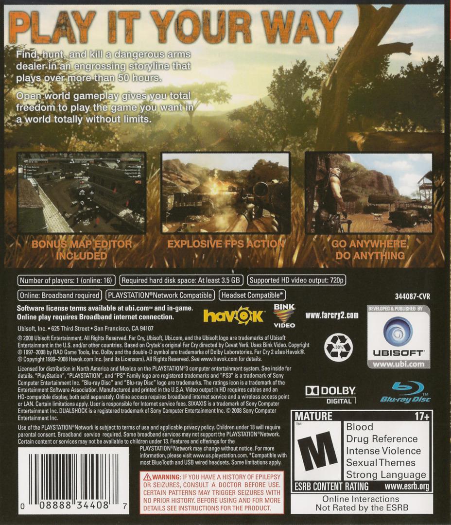 Far Cry 2 PS3 backHQ (BLUS30178)