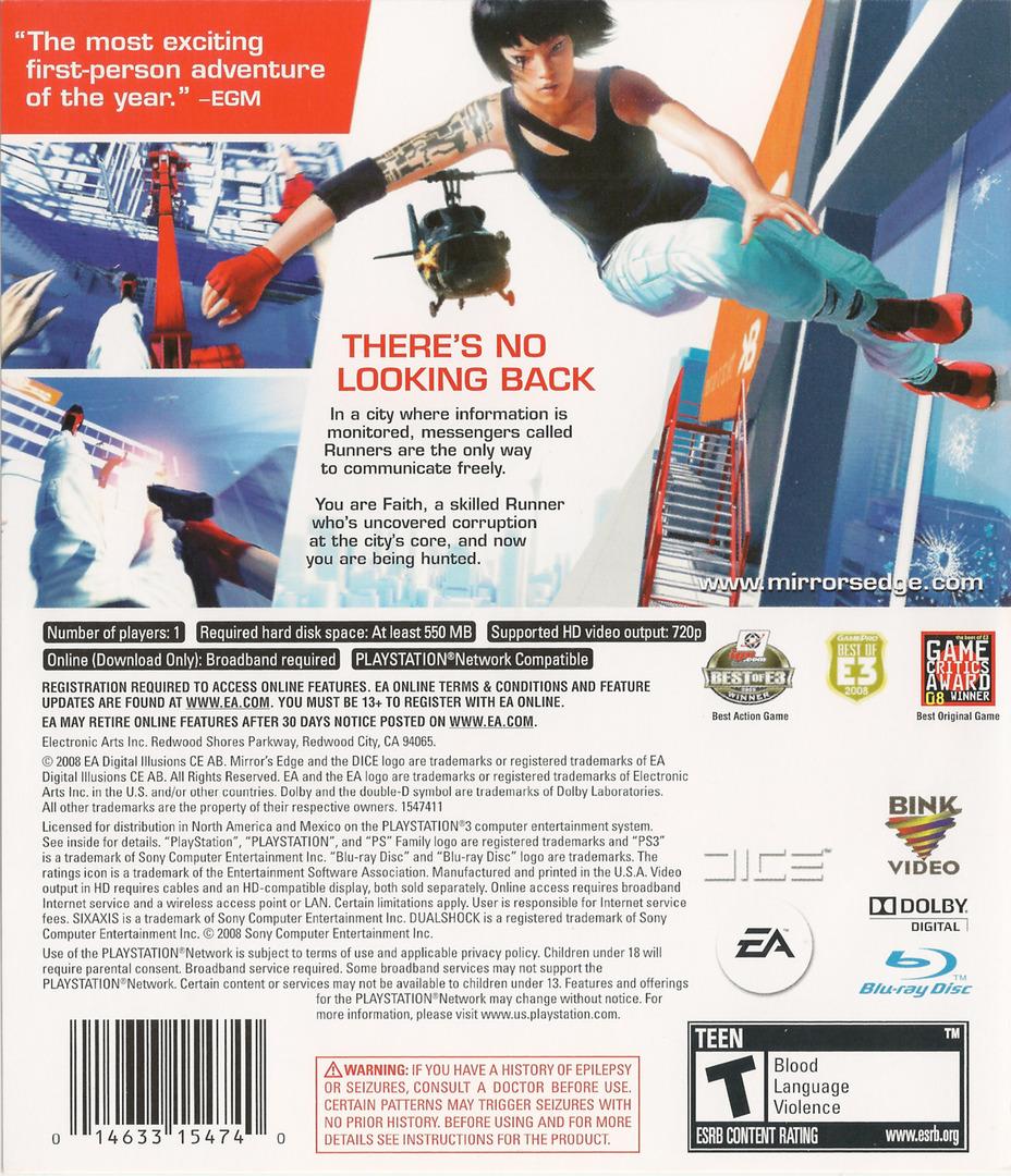 Mirror's Edge PS3 backHQ (BLUS30179)