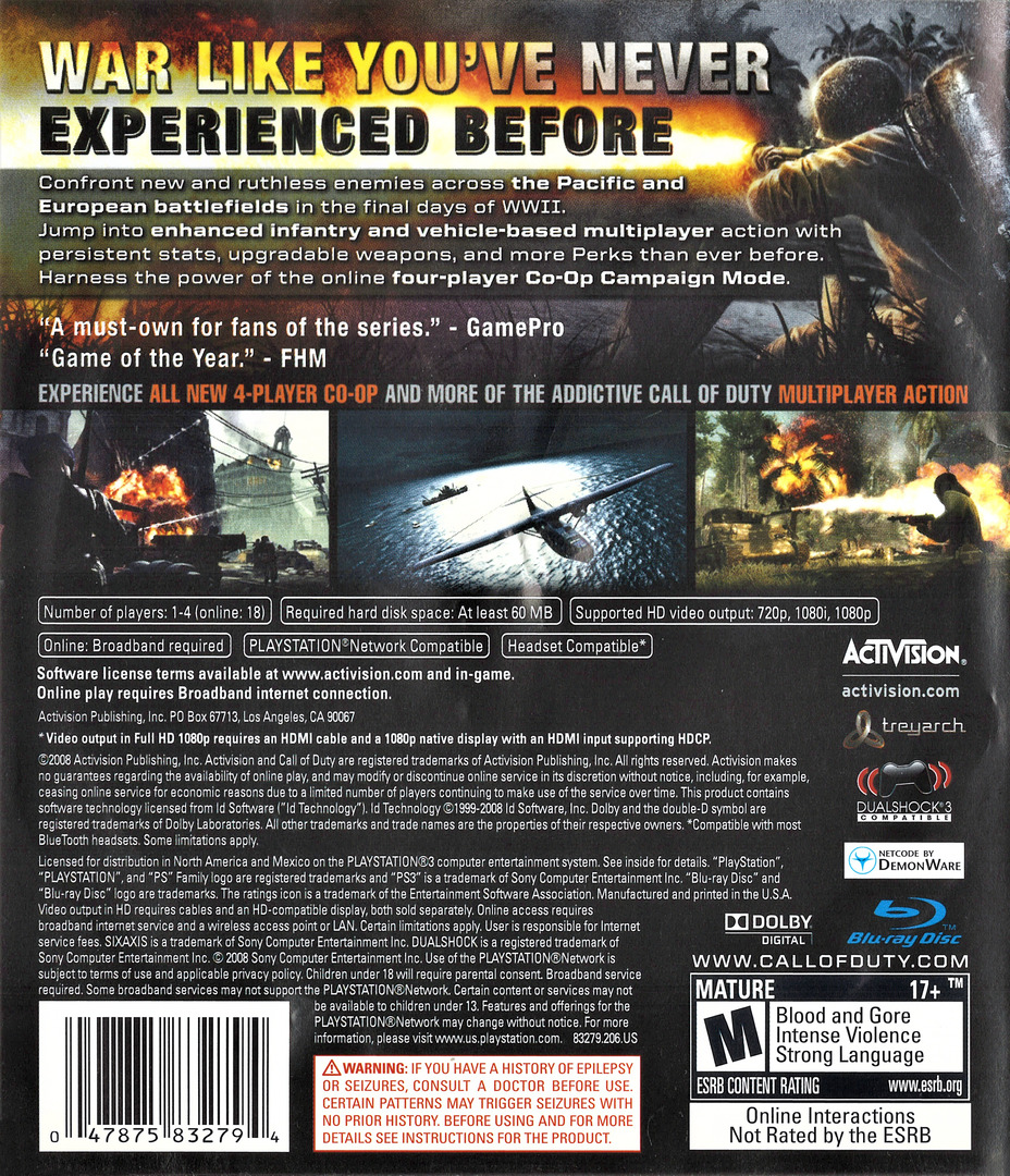 Call of Duty: World at War PS3 backHQ (BLUS30192)