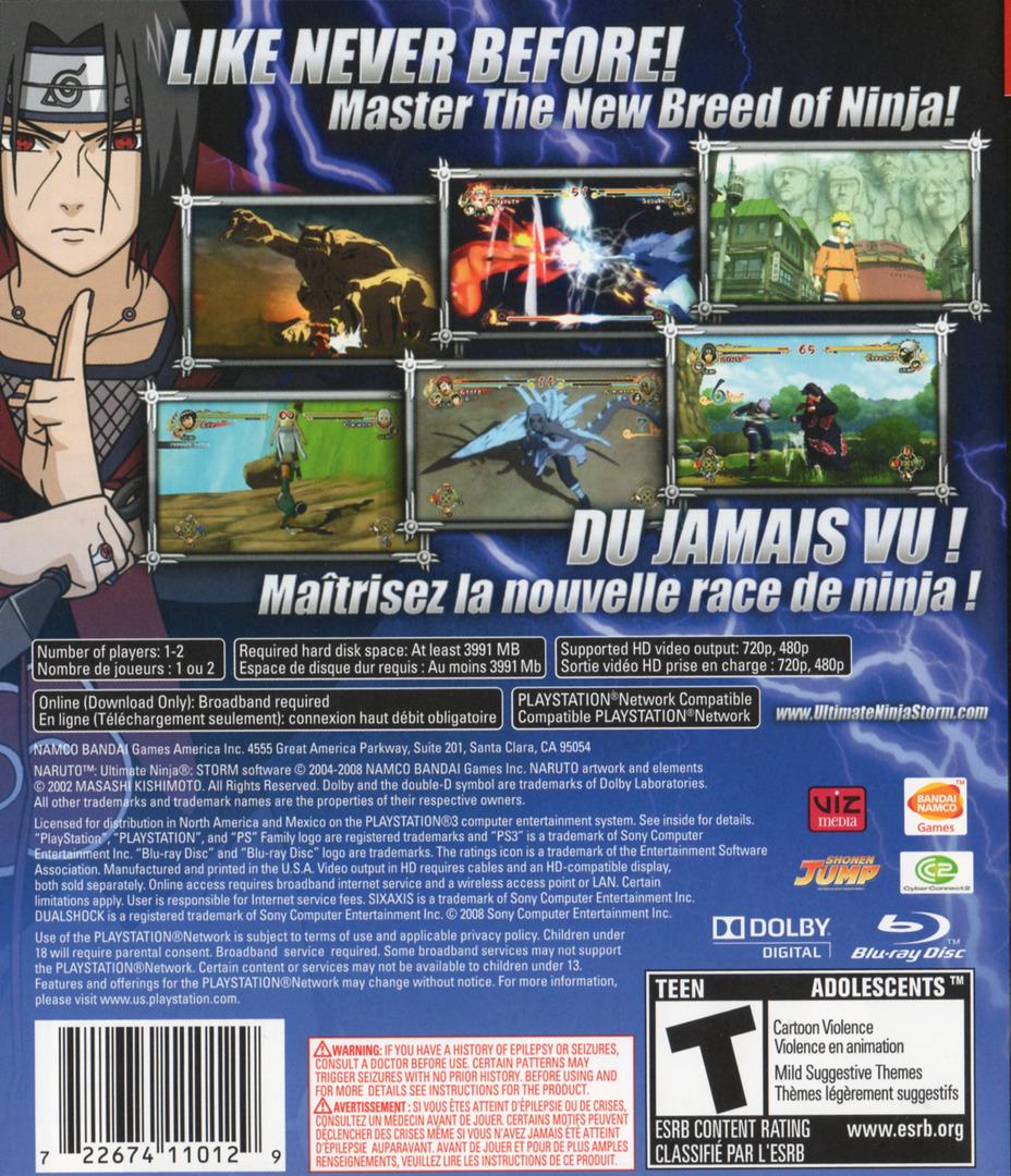 Naruto: Ultimate Ninja Storm PS3 backHQ (BLUS30200)